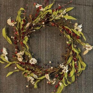 "Teastain Flowers and Berries 20"" Wreath"